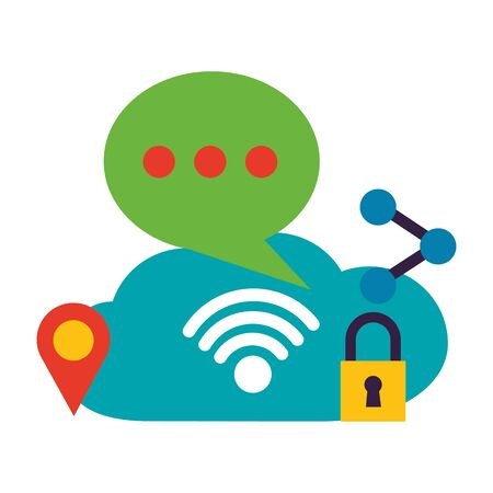 cloud computing chat location share wifi free connection vector illustration