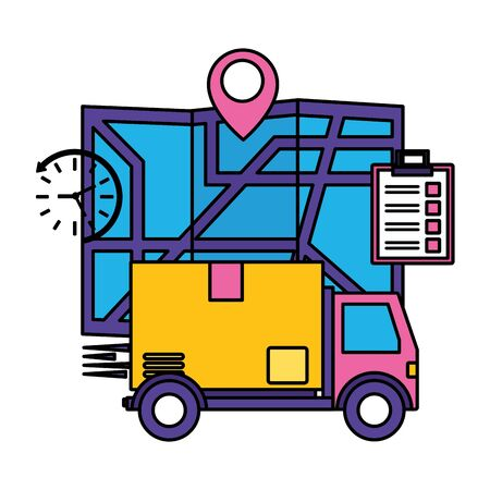 truck map clipboard and clock fast delivery logistic vector illustration