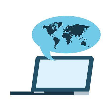 laptop computer world talk bubble vector illustration