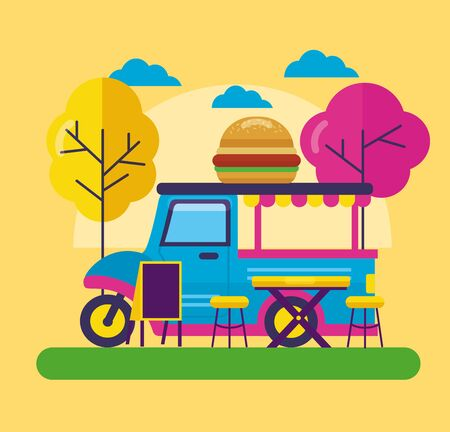 commercial food truck outdoor service vector illustration Illustration
