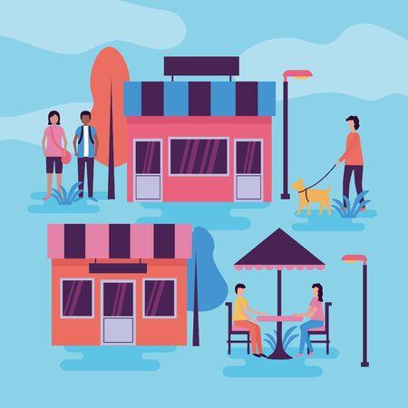 people activities outdoors city market street commerce vector illustration Illusztráció
