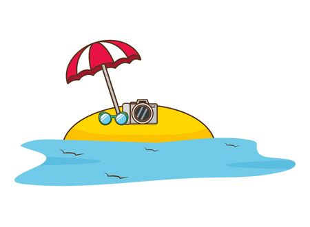 beach vacations umbrella suitcase sunglasses  vector illustration Ilustração