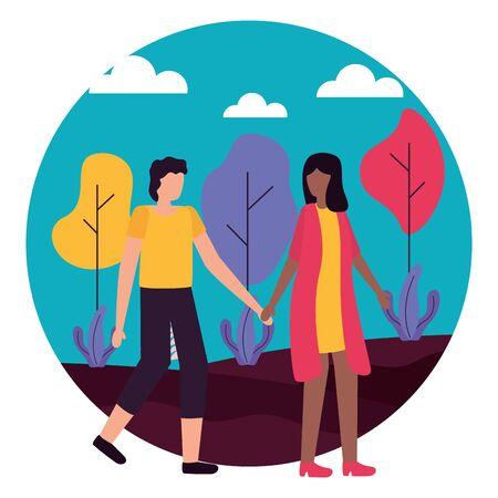 couple romantic love outdoors flat design vector illustration