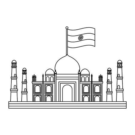 taj mahal indian mosque with flag vector illustration design Illustration