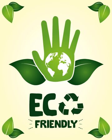 eco friendly hand with planet leaves vector illustration Ilustracja