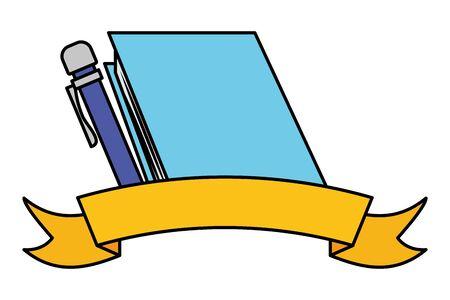 book pen sticker back to school vector illustration