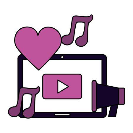 tablet megaphone music social media vector illustration