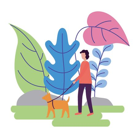 man with dog activities outdoors vector illustration