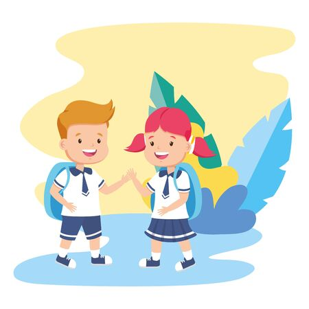 students boy and girl back to school vector illustration