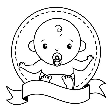 baby boy with pacifier sticker on white background baby shower vector illustration