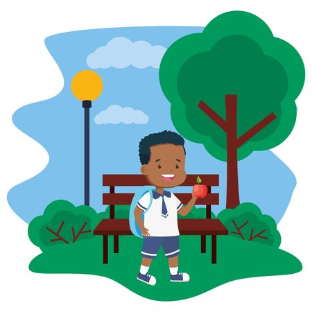 boy student with apple in bench park back to school vector illustration Standard-Bild - 130133289