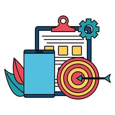 business smartphone targert report clipboard vector illustration Illustration