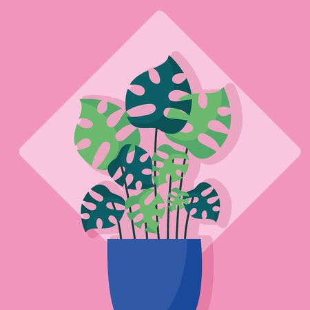 decorative cute plant pink background vector illustration vector illustration