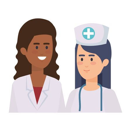 professionals female doctor and nurse characters vector illustration design