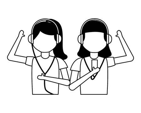 girls with earphones listening music vector illustration Reklamní fotografie - 130133330