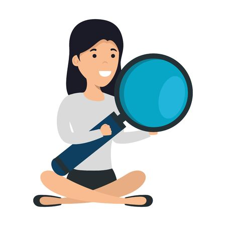 young woman in lotus position with magnifying glass vector illustration design 向量圖像