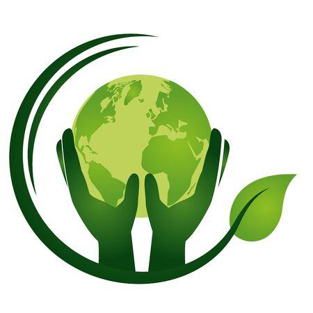 Hände mit umweltfreundlicher Umweltvektorillustration der Welt Vektorgrafik