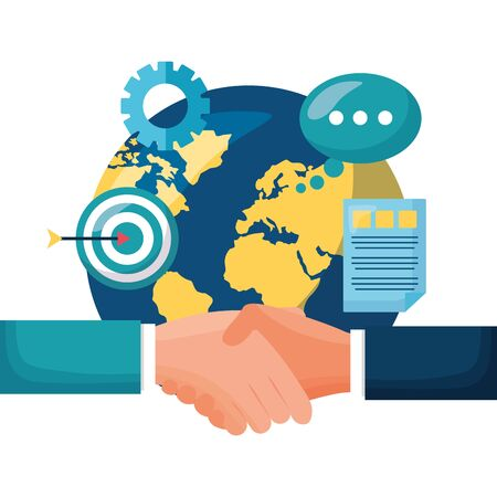 hands business done deal with world planet and target vector illustration design