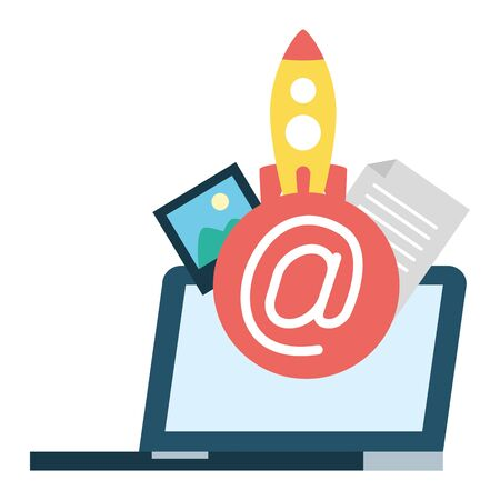 tablet rocket picture send email vector illustration 일러스트
