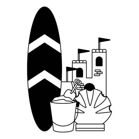vacations castle surfboard bucket shell vector illustration Ilustração