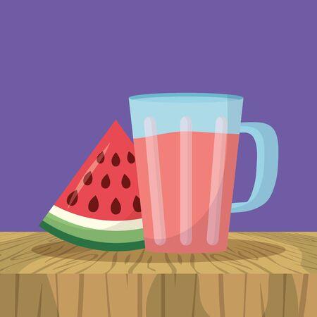 refreshing sweet juice watermelon sweet vector illustration