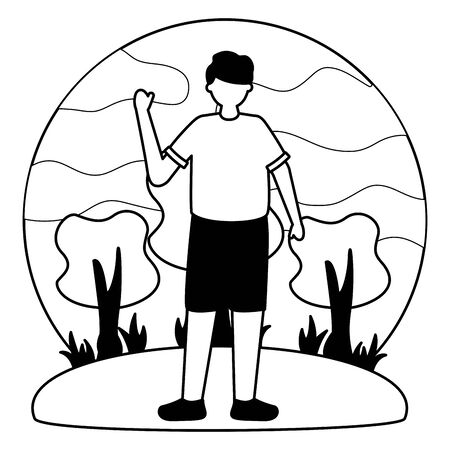 celebrating young man in the outdoors vector illustration white and black
