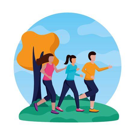 man and women park running activity vector illustration