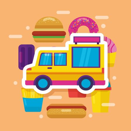 food truck hamburger donut soda french fries vector illustration
