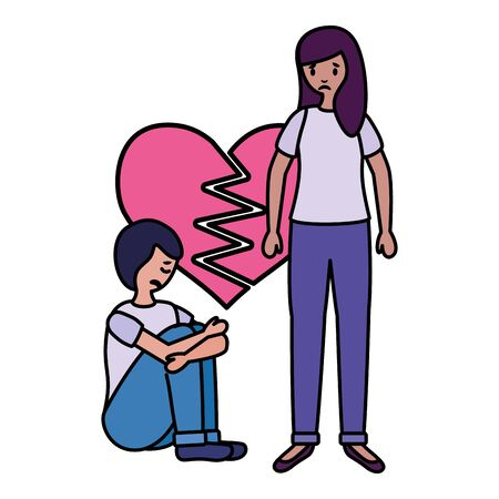 heart broken girl and boy mental psychological depressed vector illustration