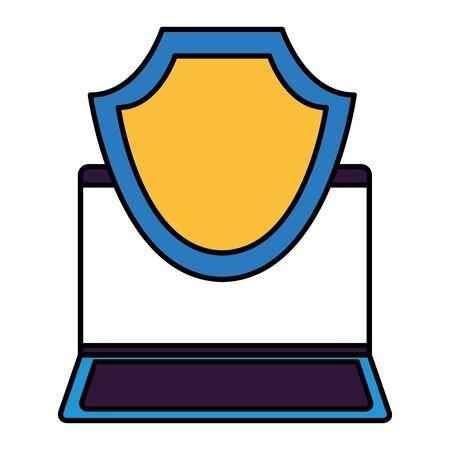laptop computer shield protection data vector illustration
