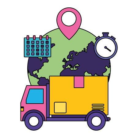 truck cardboard box destination clock calendar fast delivery vector illustration
