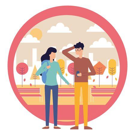 uomo che utilizza smartphone e donna con illustrazione vettoriale di borsa city park Vettoriali