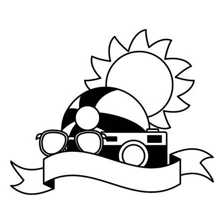 summer time holiday beachball sunglasses camera sun vector illustration Stock Illustratie