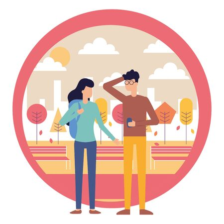man using smartphone and woman with bag city park vector illustration Çizim