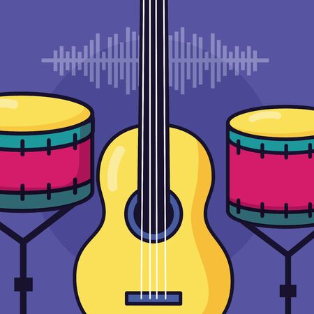 guitar and drums festival music poster vector illustration Illustration