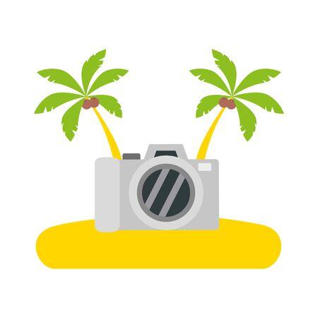 beach vacations camera palms vector illustration design Ilustração