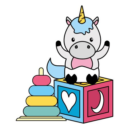 cute little unicorn with rings and block vector illustration design