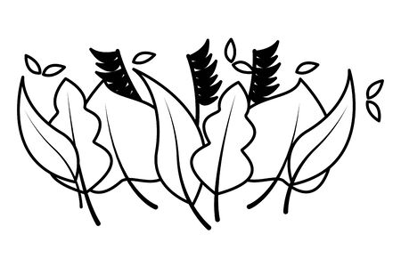 bordure de nature feuillage feuilles fond blanc illustration vectorielle