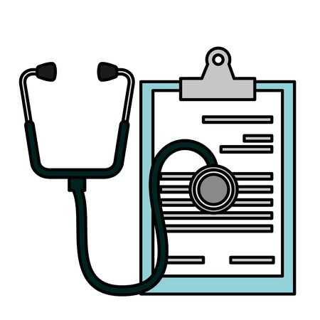 medical clipboard and stethoscope equipment vector illustration  イラスト・ベクター素材