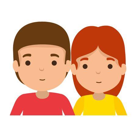 young couple avatars characters vector illustration design Иллюстрация