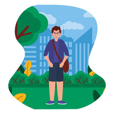 happy young man standing in the park city vector illustration