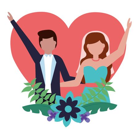 bride and groom heart love flowers wedding vector illustration Illustration