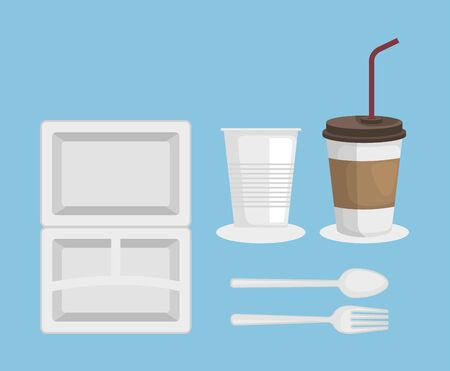 set of plastic plate with cups and spoon with fork over blue background vector illustration Ilustração