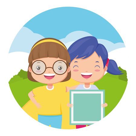 happy girls with block toy in the park vector illustration