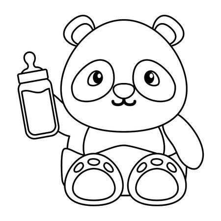 cute little bear panda with bottle milk vector illustration design