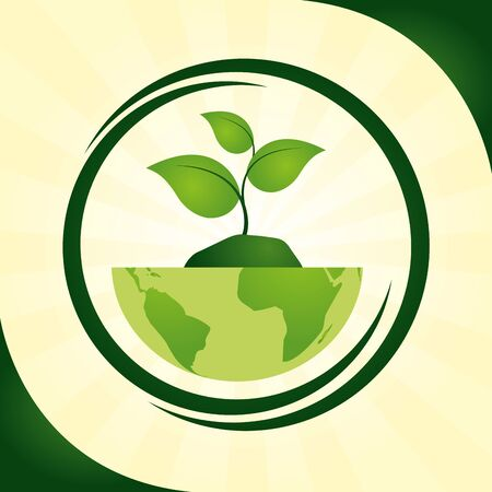 eco friendly world plant nature ecology vector illustration Archivio Fotografico - 130128123