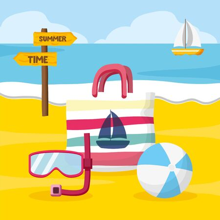 summer time holiday handbag snorkel ball beach vector illustration