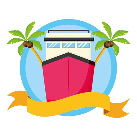 summer time cruise boat palms pool background vector illustration 向量圖像
