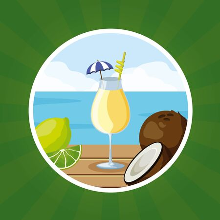 tropical fruits cocktail coconut lime beach on table vector illustration Illustration
