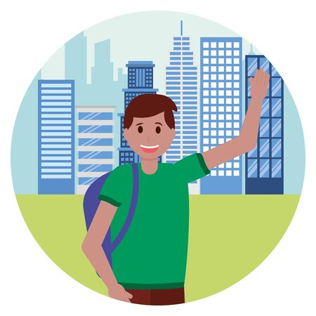 happy young man in the city street vector illustration